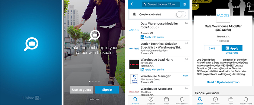 Linkedin app screenshots