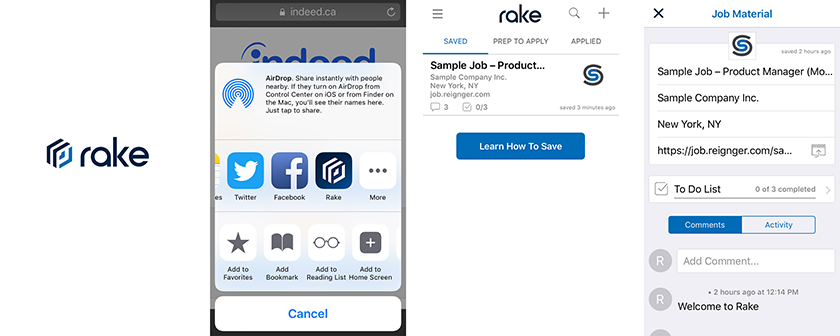 Rake app screenshots