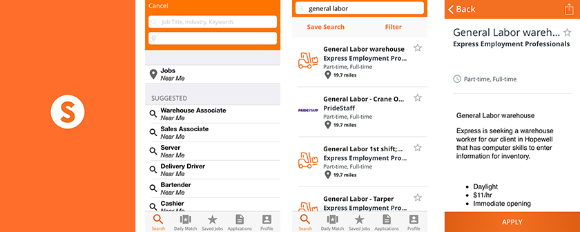 Snagajob app screenshots