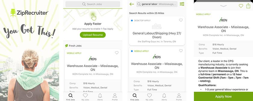 ZipRecruiter app screenshots