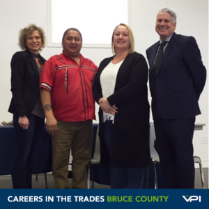 Tina Rupert (VPI Regional Manager, Bruce County),  Elder David Root, Jodi O'Gorman (VPI VP, Public Partnerships), and Chris Peabody (Mayor of Brockton) kick off the Careers in the Trades Bruce County event.
