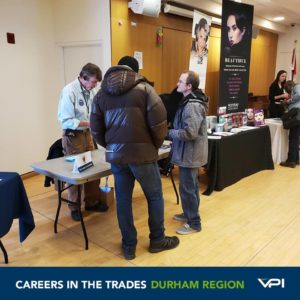 Exhibitors from organizations like the Academy of Lockmsmithing and Beauty Institute Canada speak to local job seekers about careers in the Trades in Durham Region.