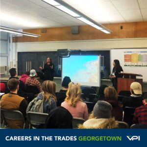 Georgetown students listen to a presentation from VPI and the MTCU about funding for apprenticeship training.